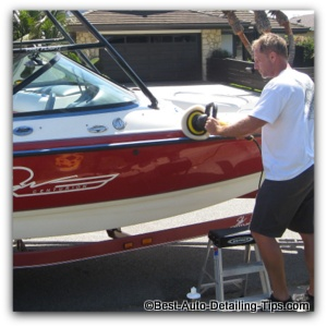boat polishing with cleaner wax
