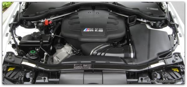 clean car engine on bmw m series