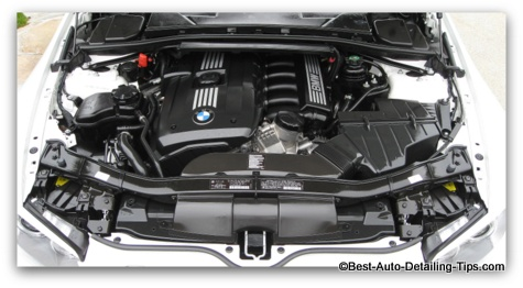 BMW 328i car engine detail