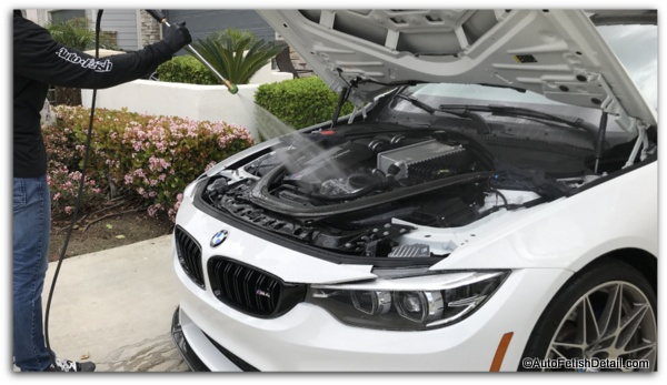 How to pressure wash car engine