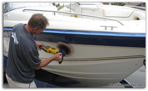polishing boat with rotary boat buffer