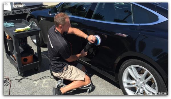 polishing car using racatac products rolling creeper
