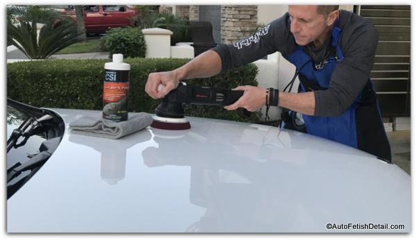 using clear coat polish to polish car