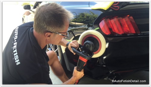 using rotary polisher to compound car paint