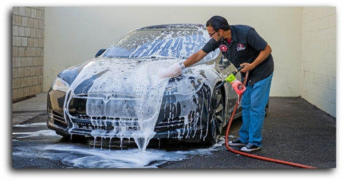 washing car with mister clean car wash