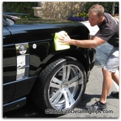applying wax to new car paint