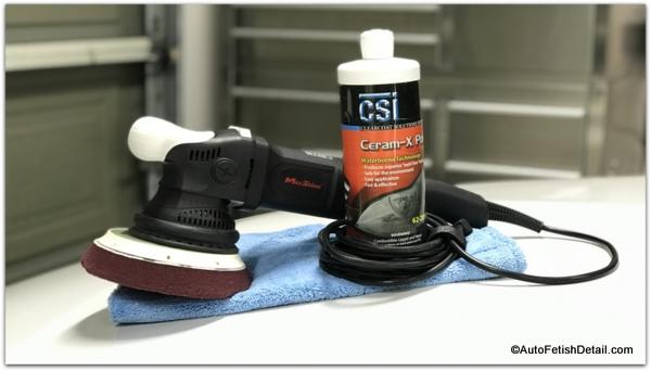maxshine random orbital polisher with ceram-x car polish