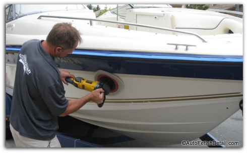 polishing boat with rotary boat buffer