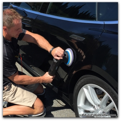 polishing car with rupes bigfoot polisher