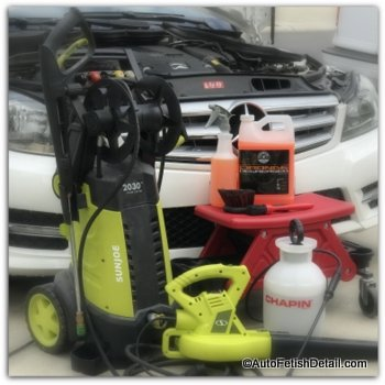 Pressure washer used to detail car