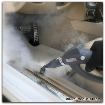 Pure upholstery steam cleaner used for auto detailing
